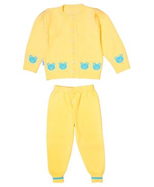 Yellow Bee Full Sleeves Teddy Pattern Sweater With Pajama - Yellow