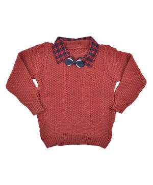 Yellow Bee Full Sleeves Collared Sweater - Maroon