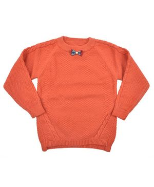 Yellow Be Full Sleeves Solid Sweater - Orange