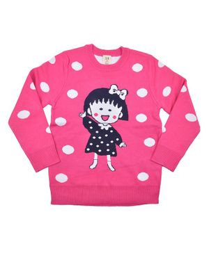 Yellow Bee Polka Dot Sweater - Dark Pink