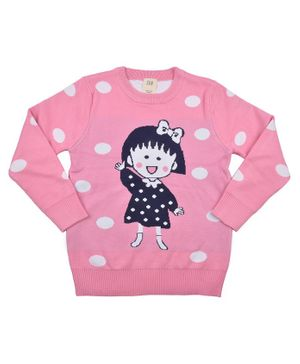 Yellow Bee Full Sleeves Doll Print Sweater - Dark Pink