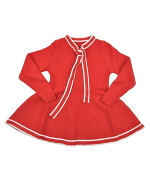 Yellow Bee Full Sleeves Sailor Collared Dress - Red