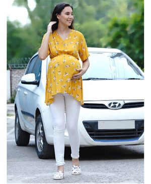 Mine4Nine Half Sleeves Cinched Waist Flower Print Maternity Top - Yellow