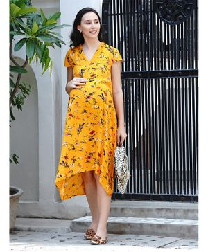 Mine4Nine Short Sleeves High Low Style Flower Print Maternity Dress - Yellow
