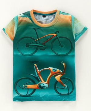 Amigos Futuristic Bicycle Printed Half Sleeves Tee - Green