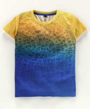 Amigos Faded Letters Printed Half Sleeves Tee - Blue