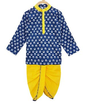 Campana Full Sleeves Motif Print Kurta With Dhoti - Blue Yellow