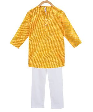 Campana Full Sleeves Leheriya Kurta With Pajama - Yellow White