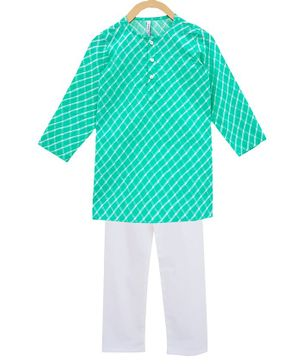 Campana Full Sleeves Leheriya Kurta With Pajama - Green White