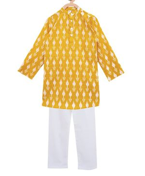 Campana Full Sleeves Motif Print Kurta With Pajama - Yellow