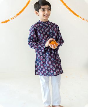 Campana Full Sleeves Motif Print Kurta With Pajama - Purple