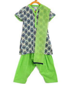 Campana Short Sleeves Motif Print Kurta With Salwar & Dupatta - Green