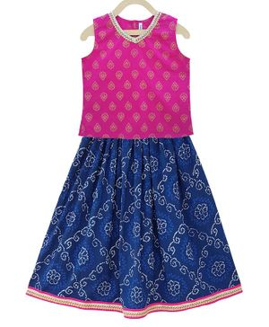Campana Sleeveless Motif Print Choli With Lehenga - Pink Blue