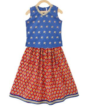 Campana Sleeveless Motif Print Choli With Lehenga - Blue
