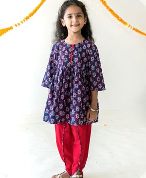 Campana Full Sleeves Flower Print Kurta With Dhoti - Purple Red