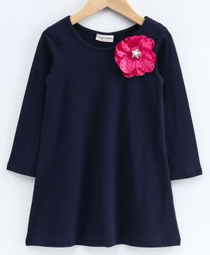 CrayonFlakes Flower Applique Full Sleeves Dress - Navy