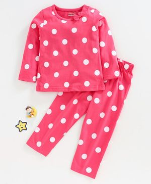 Babyhug Full Sleeves Night Suit Polka Dot Print - Pink