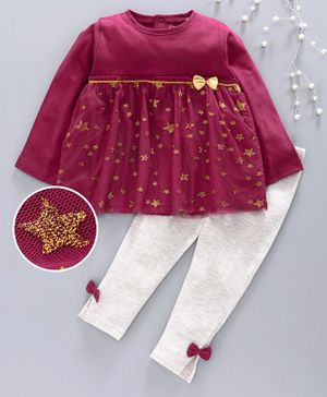 Babyhug Full Sleeves Frock Style Top & Leggings Sequin Star Detailing - Maroon Grey