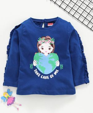 Babyhug Full Sleeves Tee Earth Print with Frill Detailing - Blue