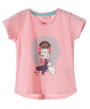 5.10.15 Short Sleeves Girl With Cat Printed T-Shirts - Pink