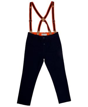 5.10.15 Solid Full Length Stretch Pants With Suspenders - Navy Blue