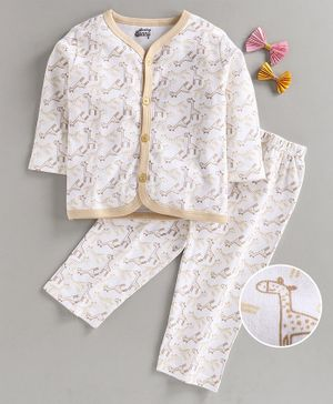 Spring Bunny Full Sleeves All Over Giraffe Printed Night Suit - Beige
