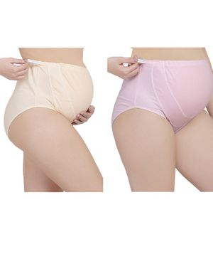 MAMMA PRESTO Pack of 2 Adjustable Solid Colour Maternity Panty - Beige & Pink