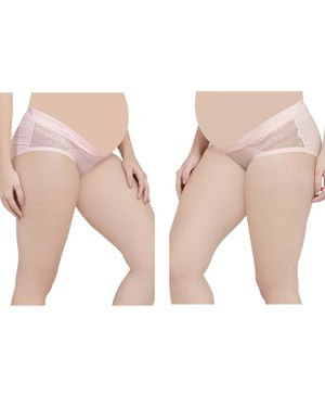 MAMMA PRESTO Pack Of 2 Flower Lace Detailing Low Waist Maternity Panties - Peach & Light Pink