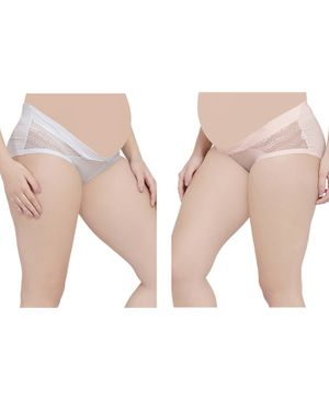 MAMMA PRESTO Pack of 2 Low Rise Maternity Panty - Pink & White