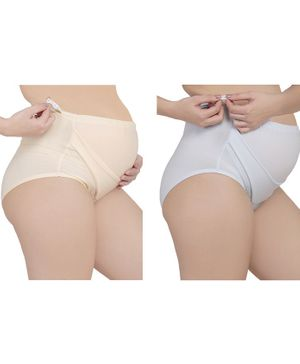 MAMMA PRESTO Pack of 2 High Waist Solid Adjustable Maternity Panties - Blue & Beige