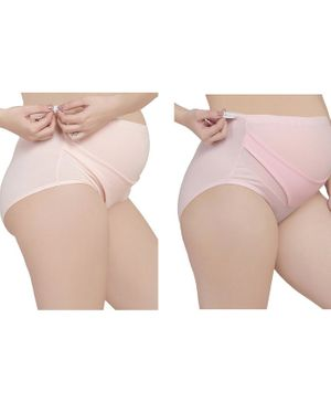 MAMMA PRESTO Pack of 2 High Waist Solid Adjustable Maternity Panties - Light Pink & Beige