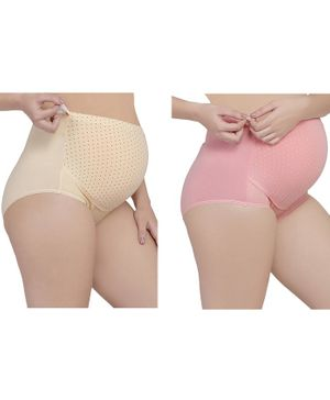 MAMMA PRESTO Pack of 2 High Rise Polka Dot Print Adjustable Maternity Panties - Beige & Pink