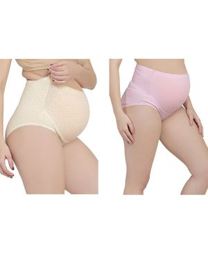 MAMMA PRESTO Pack of 2 High Rise Heart Print Adjustable Maternity Panties - Beige & Pink