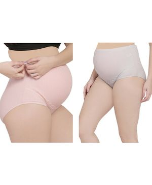 MAMMA PRESTO Pack of 2 High Waist Maternity Panty - Pink & Grey