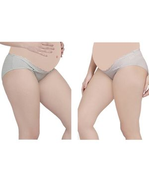 MAMMA PRESTO Pack of 2 Low Rise Lace Detailing Maternity Panty - Grey