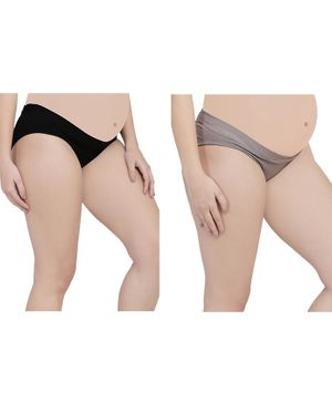 MAMMA PRESTO Pack of 2 Low Rise Maternity Panty - Black & Grey