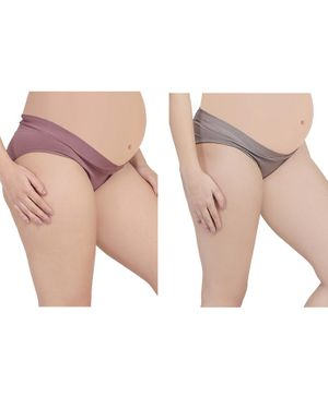 MAMMA PRESTO Pack of 2 Low Rise Maternity Panty - Purple & Grey