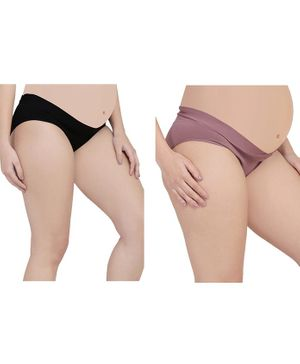 MAMMA PRESTO Pack of 2 Low Rise Maternity Panty - Purple & Black