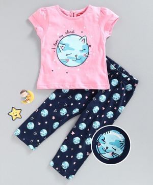 Babyhug Short Sleeves Night Suit Cat Print - Blue Pink