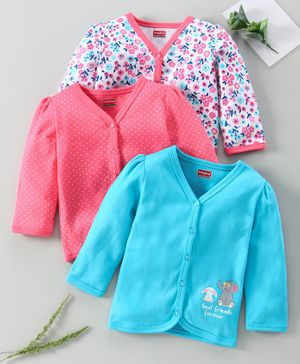 Babyhug 100% Cotton Printed Full Sleeves Vest Pack of 3 - Pink Blue