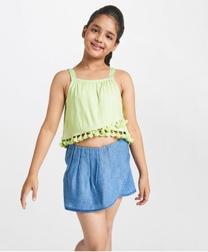 Global Desi Girl Pom Pom Hem Sleeveless Top - Green