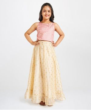 Global Desi Girl Gold Flower Print Sleeveless Top With Skirt - Pink