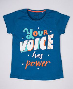 ParrotCrow Short Sleeves Your Voice Has Powder Printed T Shirt - Blue