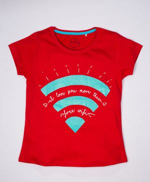 ParrotCrow Short Sleeves Free Wifi Printed T Shirt - Red