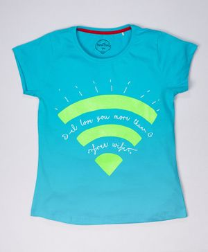 ParrotCrow Short Sleeves Free Wifi Printed T Shirt -  Blue