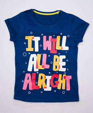 ParrotCrow Short Sleeves It Will All Be Alright Printed T Shirt - Galaxy Blue