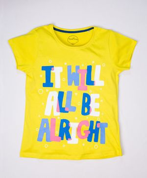 ParrotCrow Short Sleeves It Will All Be Alright Printed T Shirt - Yellow
