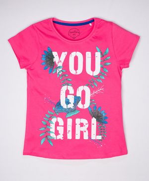 ParrotCrow Short Sleeves You Go Girl Printed T Shirt - Hot Pink