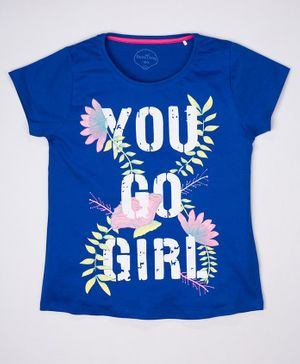 ParrotCrow Short Sleeves You Go Girl Printed T Shirt - Blue