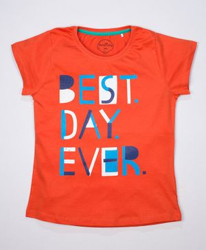 ParrotCrow Short Sleeves Best Day Ever Printed T Shirt - Orange